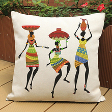 Buy 45*45cm African Woman Ethnic Cushion Cover Dancing Art images Pillow Covers Pillow Cases Color Cloth Bedroom Sofa Decor for $2.84 in AliExpress store