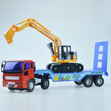 Simulation trailer excavator cars Model Combination series Alloy Plastic Transport Inertial engineering vehicles Toys(China)