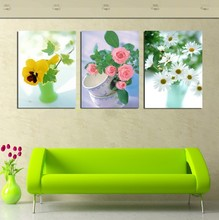 3 Panel Modern Painting Home Decorative Art Picture Paint on Canvas Prints Three kinds of beautiful flowers and their take(China)