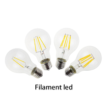 Edison light Led filament bulbs lamp 2W 4W 6W 8W A60 E27 for clear grass indoor led lighting use in 110/240V fast arrival R