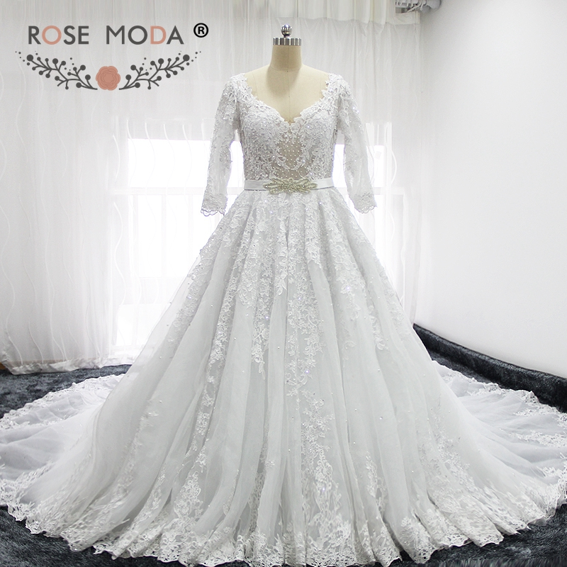 Rose Moda Princess V Neck 3/4 Sleeves Lace Wedding Dresses Royal Train Removable Crystal Sash Low V Back Wedding Ball Gown
