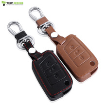 Car Leather Flip Remote Key Cover For Volkswagen Golf 7 MK7 Golf GTI Skoda Octavia A7 RS Car Styling