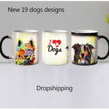 Dropshipping 19 designs dogs color changing magic mugs cup Ceramic coffee mug cup tea cups best gift for friends