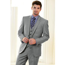 Clásico juego de los hombres de alta calidad collar de traje gris de los  hombres de un solo pecho vestido y oficina (chaqueta + . 1bce8863cdb5