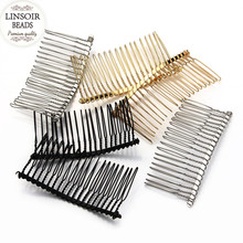 6pcs/lot New Fashion Black/Gold/Rhodium Hairpin Wedding Hair Accessories Metal Bridal Hair Combs DIY Jewelry Findings F1573(China)
