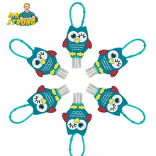 6pcs/lot My Cute Creative Cartoon Owl Bath Body Works Silicone Portable Hand Sanitizer Holder With Empty Bottle Children's Gift(China)