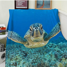 Blanket Comfort Warmth Soft Plush Easy Care Machine Wash Funny Leatherback Sea Turtle in ocean Sofa Bed Throw Kid Adult Warm