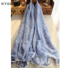 KYQIAP Winter scarf Mori girls Japanese style fresh design long blue print scarves cape shawl wrap birthday gifts free shipping