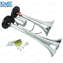 FREE SHIPPING-King Way-CHROME TRUCK AIR HORN MEGA TRAIN 12V 120DB INSANE SUPER LOUD 2 Duel TRUMPET AIR HORN KIT