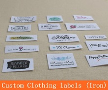 No.2 Custom logo tags / brand labels, Iron Labels,Custom Clothing Labels,Name Tags, White Organic Cotton