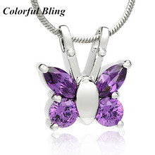 Butterfly glass memorial urn pendant stainless steel silver ashes cremation animal love jewely purple and green fashion(China)