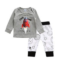 2017 New Brand Funny Toddler Infant Kids Baby Boy Girl Cartoon Tops Long Sleeve Shirt Trousers 2Pcs Outfits Set Clothes 0-4T