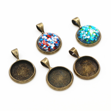 20pcs 12mm Inner Size Bronze Plated Brass Material Simple Style Cabochon Base Cameo Setting Charms Pendant Tray A2-31
