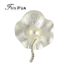FANHUA  2017 New Elegant Jewelry Silver Color Fashion Brooch for Women Accessories
