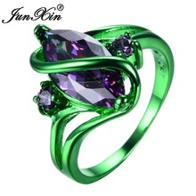 JUNXIN Male Female Pruple Ring Green Gold Filled Vintage Wedding Engagement Rings For Men And Women Fashion Jewelry(China)