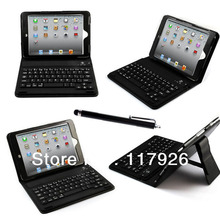 Black For 3d iPad mini  case Wireless Bluetooth Keyboard PU Leather Stand Case Cover For iPad Mini&DropShipping &Free Stylus Pen