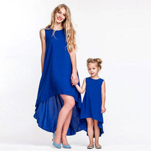 Matching Family Clothing Blue Matching Irregular Mermaid Mother Daughter Dress Fashion Blue Sleeveless Party Dress Kids Clothes(China)