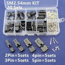 SM2.54 Kits 20 sets Kit in box 2p 3p 4p 5p 2.54mm Pitch Female and Male Header Connectors Adaptor(China)