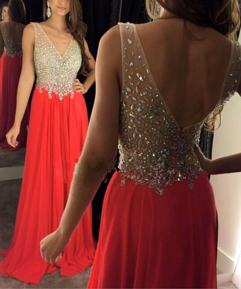 2016 Sexy Red Evening Dresses Long Chiffon Crystal Beaded Prom Dress Robe De Soiree Formal Party Gowns(China)