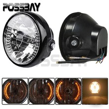 POSSBAY Universal 7'' Motorcycle Turn Signals Headlights Amber Light Bike For Suzuki Harley Bobber Dyna Honda Yamaha Kawasaki