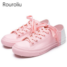 Rouroliu Women Fashion Non-Slip Ankle Rainboots Patchwork Waterproof Water Shoes Wellies Casual Lace-Up Rain Shoes Woman RT238