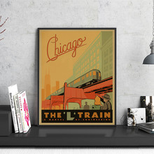 America City Chicago Train City Travel Poster Retro Kraft Paper Vintage Print Poster Wall Sticker Home Bar Pub Cafe Decoration