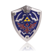 HSIC JEWELRY Game The Legend Of Zelda Shield Brooches High Quality Enamelled Alloy Brooches Female Male Brooch Pins 3.5x4 cm