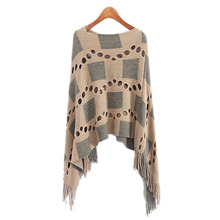 Buy Autumn Women V Neck Batwing Plaid Fringed Stitching Irregular Tops Poncho Shawl Cape Hollow Sweater Blusas Femininas Clothes for $11.89 in AliExpress store