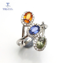 TBJ, Natural fancy color Sapphire gemstone ring fashion elegant shiny special design and good making Ring in 925 sterling silver(China)