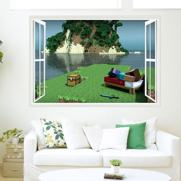 HTB1p5PFeWagSKJjy0Fhq6ArbFXaY - Newest Minecraft Wall Stickers 3D Wallpapers Kids Room Decals Minecraft Steve Home Decoration Popular Games Home Free Shipping