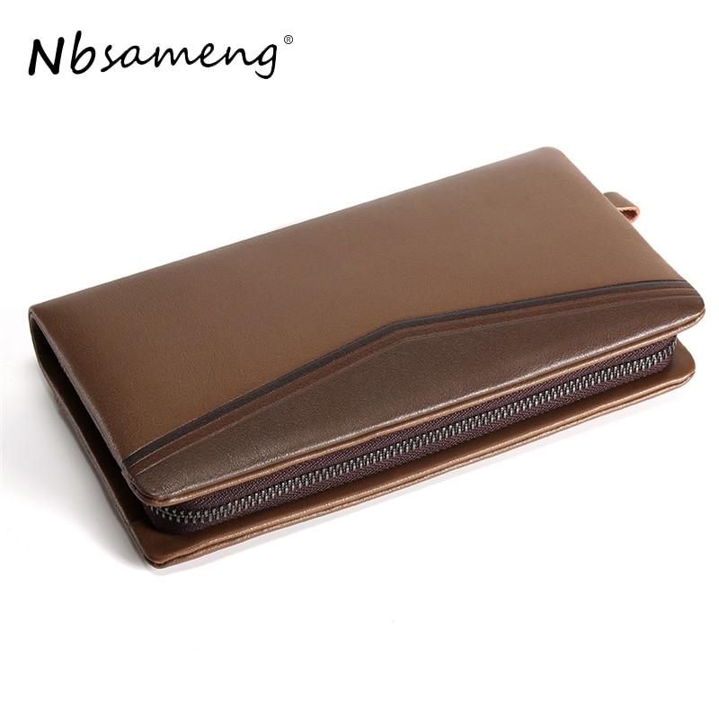 NBSAMENG Genuine Leather Men Long Zipper Wallets Business Male Wallet Fashion Purse Card Holder Long Clutch Wallets<br>