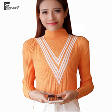 Autumn Winter Basic Pullovers Sweaters Hot Sales Women Slim Bodysuit Tops Ladies White Black Striped Orange Turtleneck Sweater(China)