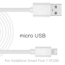 Micro USB Cable Fast Charging Mobile Phone USB For Vodafone Smart First 7 VF200 Android Charger Cable 1M Data Sync Cable White