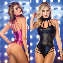 Buy Erotic Lingerie Sexy Costumes bandage PU leather lingerie hollow sexy babydoll black erotic lingerie porno costumes