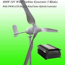 2017 New Arrival 3 Blades Rated 600W 24V Wind Generator & PWM LCD Display Wind Solar Hybrid Controller Wind Power Generator Kit(China)