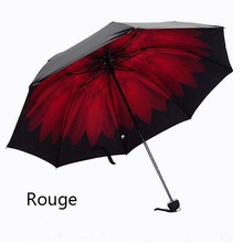 2016 Hotsale Umbrellas Super Anti-UV Umbrellas Sun Protection Parasols Rain Umbrella 3 Folding Colorful Flowers Daisy Gardenia