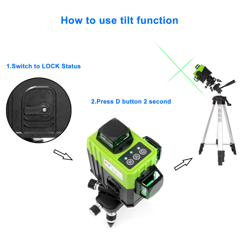 KaiTian 12Lines 3D Laser Levels Self-Leveling Cross Horizontal 360 Vertical Green Laser x Beam 532nm Line Lazer Nivel Level Tool OUTDOOR