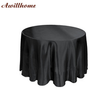 free shipping 20 pcs 108in.black round cheap table cloth round cloth tablecloths satin with seam(China)