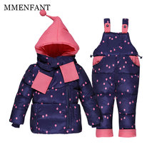 Children clothes boys girls winter warm down jackets ski suit set rain printing thick coat+jumpsuit baby clothes set kids jacket(China)