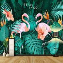 3d обои Гостиная современные обои Задний план настенная живопись фреска шелк Nordic ручная роспись тропический Фламинго Обои(China)