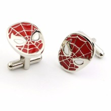 Fashion Movie red Spider-Man Cuff links vintage Spider Man mask Cuff links Men Women Cufflinks Jewelry gift Wholesale