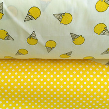 100*160cm 100% cotton yellow cone polka dots cloth twill fabric for DIY bedding dress clothes patchwork tissu cloth(China)