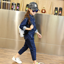 Girls child autumn trend long-sleeve denim jumpsuit child one piece trousers fashion pants bodysuit