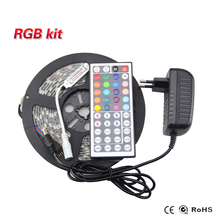 LED RGB Tape 5M/Roll 5050 3528 SMD 300leds flexible strip string Ribbon Flexible light +44 key remote controller 2A power supply