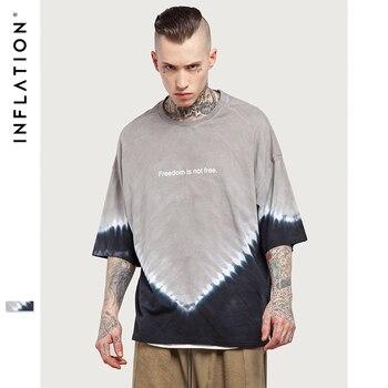 INFLATION 2017 D'été Nouveau Style Tendance Tie-dye T-Shirt Gris Noir Hommes Longshirt de Palangre Elong Casual T-shirt