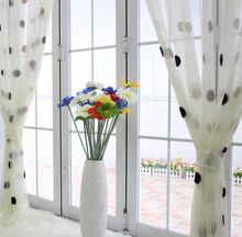 Big dot embroidered gauze polka dot white brief balcony voile blind garden curtain window screening customize