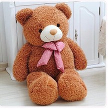 lovely teddy bear doll candy colours light brown teddy bear with spots bow plush toy doll birthday gift about 80cm