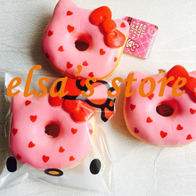 squishies wholesale 10pcs squishy jumbo kawaii hello kitty pink heart donut slow rising squishy kids toy hand pillow Free Ship(China)