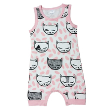 Cat Baby Boys Rompers Summer Cotton Baby Romper Sleeveless O-Neck Kids Jumpsuit Cartoon Infant Rompers Cute Baby Boys Clothing(China)