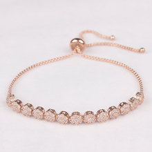 Cake Shape Cubic Zirconia Crystal Adjustable CZ Zircon Bracelets for Women in Rose Gold Color or Silver Colors Plated(China)